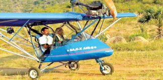 Saji Thomas in his hand made Aircraft