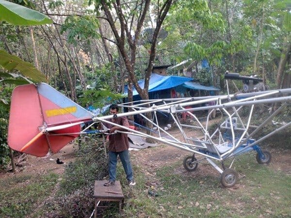 Saji Thomas working on his Aircraft