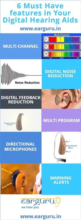 6 Must Have Features in your Digital Hearing Aids Infographic