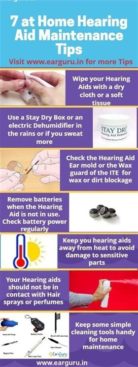 7 at Home Hearing Aid maintenance tips Infographic