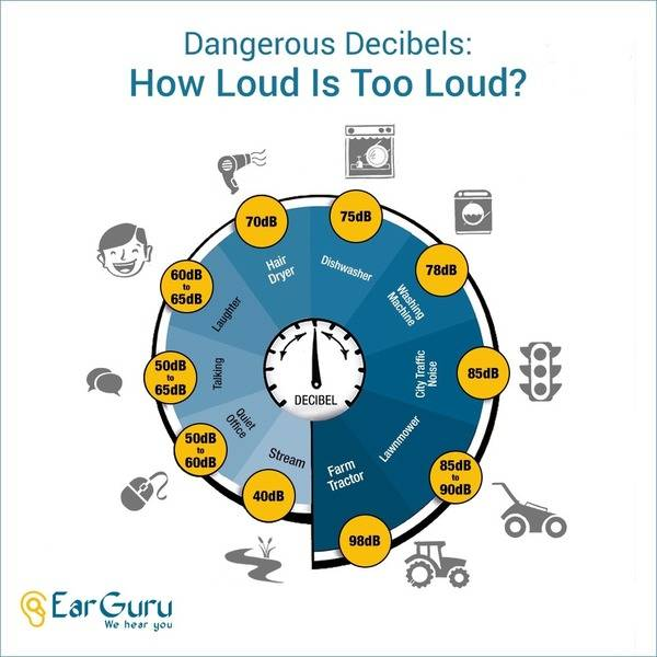 Sound Levels of some Daily use Appliances and situations infographic